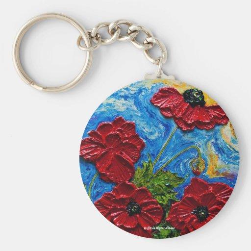 Red Poppies Keychain