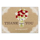 Red Poppies Lace Kraft Rustic Modern Thank You Card
