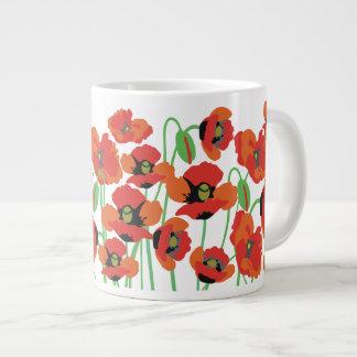 Red poppies large coffee mug