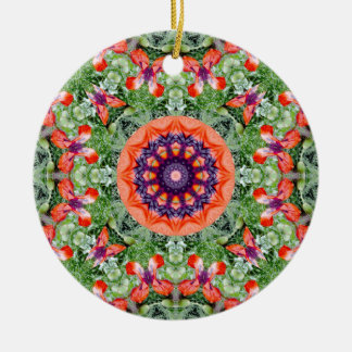 Red Poppies Nature, Flower-Mandala Christmas Ornament