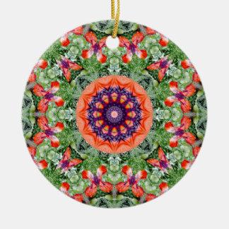 Red Poppies Nature, Flower-Mandala Round Ceramic Decoration