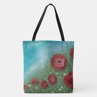 Red Poppies on a Hill Tote Bag