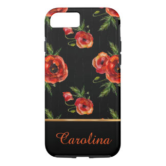 Red Poppies on Black  Name and Monogram iPhone 8/7 Case