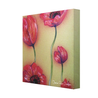 Red Poppies on Olive Green Background Stretched Canvas Print
