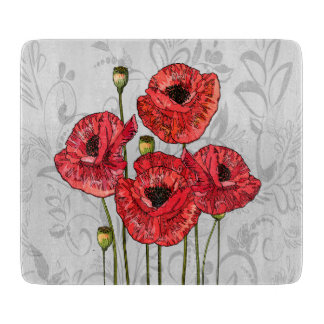 Red Poppies on Whimsical Gray Floral Cutting Board