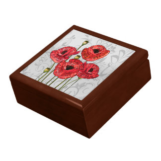 Red Poppies on Whimsical Gray Floral Trinket Box