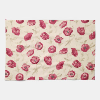 Red poppies pattern kitchen towel