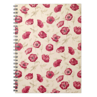Red poppies pattern notebook