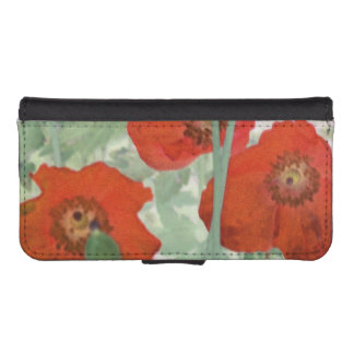 red poppies phone wallet case