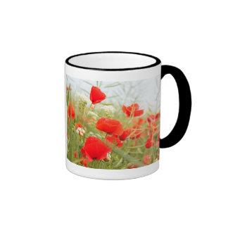 Red poppies pretty meadow coffee mug