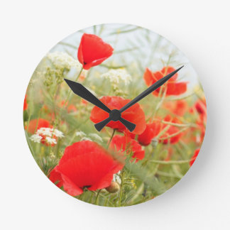 Red poppies pretty meadow round clock
