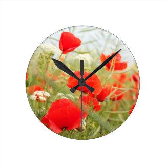 Red poppies pretty meadow wallclocks
