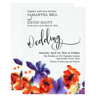 Red Poppies, Purple Iris Watercolor Modern Wedding Card