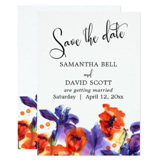 Red Poppies, Purple Iris Watercolor Save the Date Card