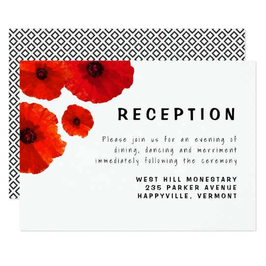 Red Poppies Reception Enclosure Card