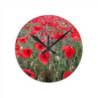 red poppies round clock
