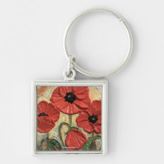 Red Poppies Silver-Colored Square Key Ring