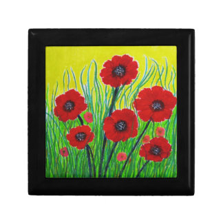 Red Poppies Small Square Gift Box