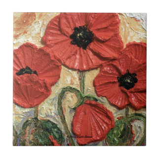 Red Poppies Small Square Tile