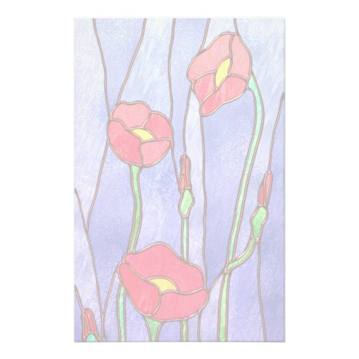 Red Poppies Stained Glass Look Stationery