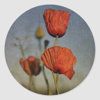 Red Poppies,sticer Classic Round Sticker