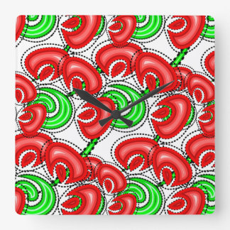 Red poppies summer themed designed square wall clock