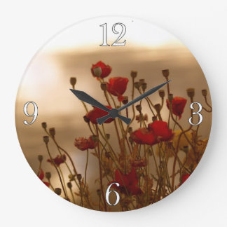 Red Poppies & Sunlight Flowers Flora Photo Clock