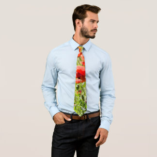 Red poppies tie