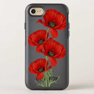 Red Poppies Vintage Botanical Illustration OtterBox Symmetry iPhone 7 Case