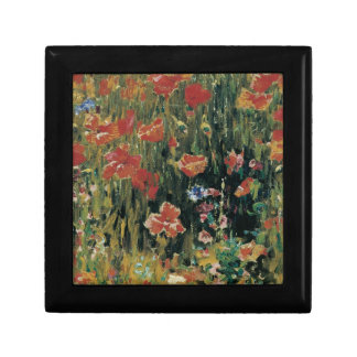 Red Poppies Vintage Floral Small Square Gift Box