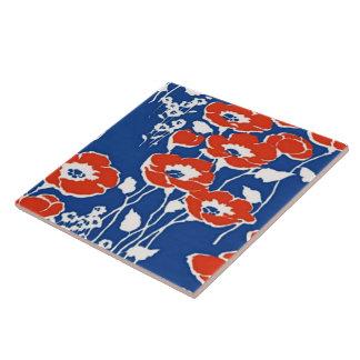 Red Poppies Vintage Wallpaper Fine Floral Art Large Square Tile