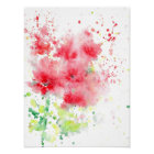 Red Poppies Watercolor Abstract Poster