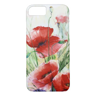 Red Poppies, Watercolor by N.Stangrit iPhone 8/7 Case