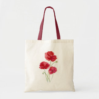 Red Poppies - Watercolor Budget Tote Bag