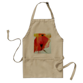 Red Poppies watercolour modern floral art Adult Apron