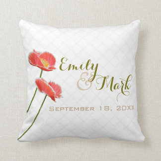 Red Poppies Wedding Cushion