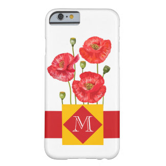 Red Poppies with Monogram and Golden Yellow Barely There iPhone 6 Case