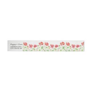 Red Poppies Wrap Around Return Address Label Wraparound Address Label