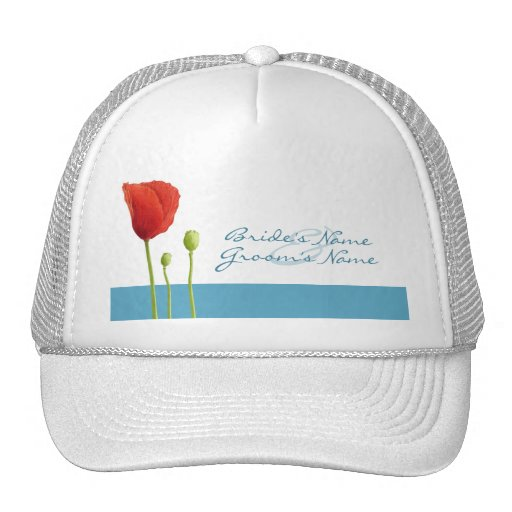 Red Poppy aqua Hat
