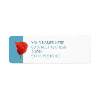 Red Poppy aqua Return Address Label