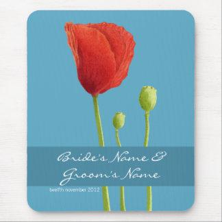 Red Poppy aqua Wedding Mousepad