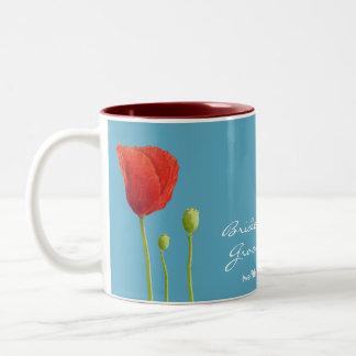 Red Poppy aqua Wedding Mug