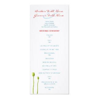 Red Poppy aqua Wedding Program 10 Cm X 24 Cm Invitation Card