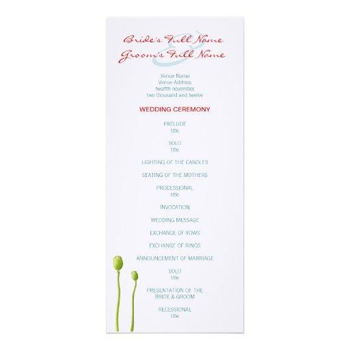 Red Poppy aqua Wedding Program Custom Invites