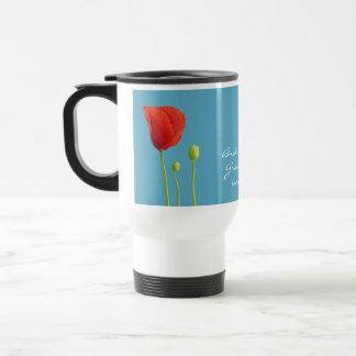 Red Poppy aqua Wedding Travel Mug