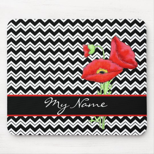 Red Poppy Black & White Personalise Chevron Zizzag Mouse Pad