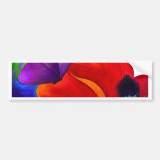 Red Poppy Butterfly Painting Art - Multi Bumper Sticker