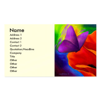 Red Poppy Butterfly Painting Art - Multi Business Cards