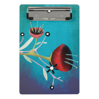 Red Poppy Chalked Gradient Turquoise Clipboard