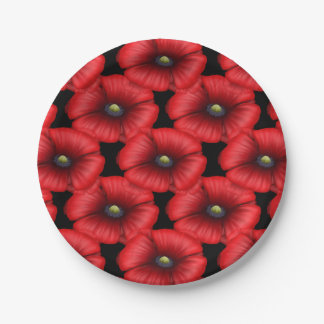 Red poppy cluster bbq buffet party paper plate 7 inch paper plate